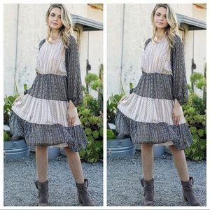 Floral print woven color block dress